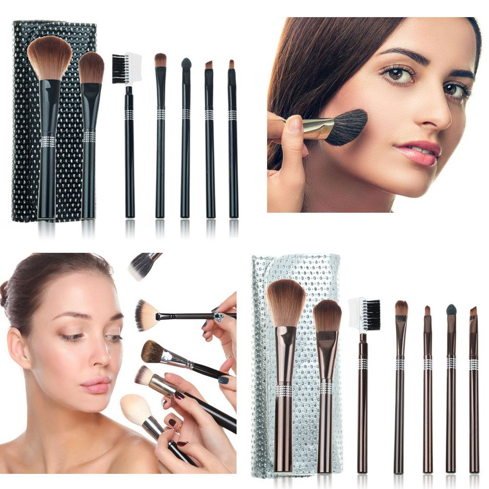 2017 Hot Fashion New Pro 7Pcs Brush Eyebrow Eyeliner Foundation Brush Makeup Cosmetic Brush Bag Set Kit