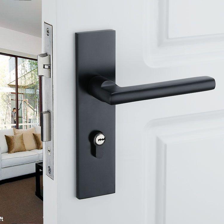 Black Solid Space Aluminum Door Locks Continental Bedroom Minimalist Interior Door Handle Lock Cylinder Door Handles Doors Interior Modern Black Interior Doors