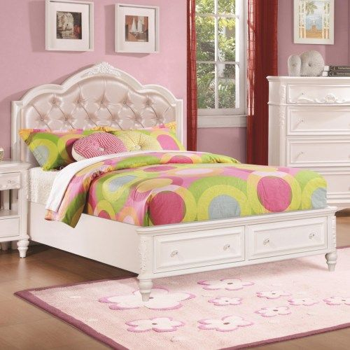 Coaster Caroline Full Size Storage Bed w/ Diamond Tufted Headboard