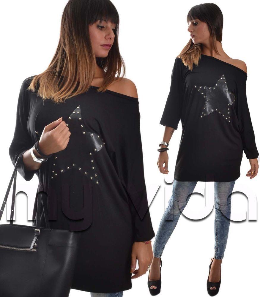 4bff625c85ab Maxi maglia donna vestito manica pipistrello monospalla stella ecopelle M90