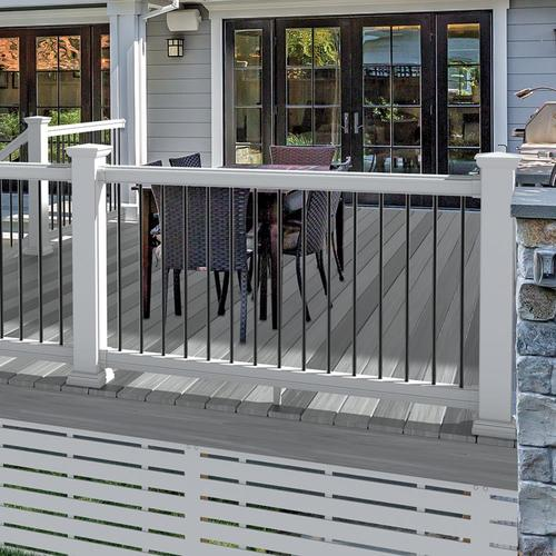 Shop Freedom Assembled 8 Ft X 3 Ft Prescot White Pvc Deck Rail Kit With Balusters In The Deck Railing Kits Section Of Lowes C In 2020 With Images Pvc Decking Deck Railings Deck