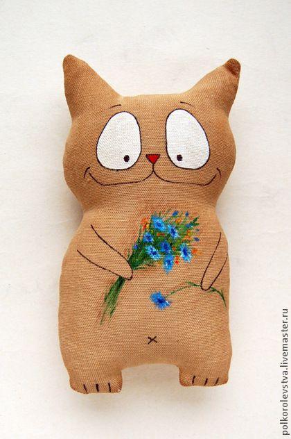 Котэ с васильками - бежевый,кот,игрушка кот,котэ,котик,кошка,подарок любителю котов