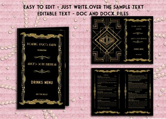 Printable Wedding Drinks Menu Template Art Deco by StudioDMD – Drinks Menu Template