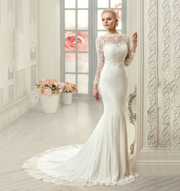 2017 Elegant Muslim Lace Long Sleeve Mermaid Wedding Dress 2016 ...