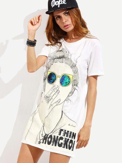 7fb44f7dc5 White Cartoon Print Slit Side Tshirt Dress. White Cartoon Print Slit Side Tshirt  Dress Casual Day Dresses ...