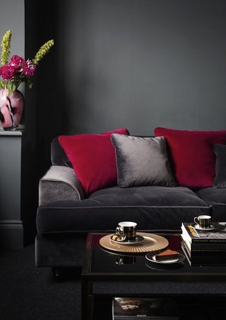 Burgundy And Dark Grey Interior House Living Room Red Red Home Decor Living Room Grey
