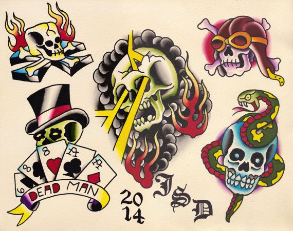 Original Watercolor Traditional Tattoo Flash Painting of Skulls with Cards, Lightening Bolts, Snakes, Flames
