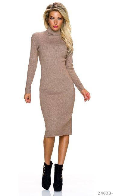Taupe jurk lange mouw