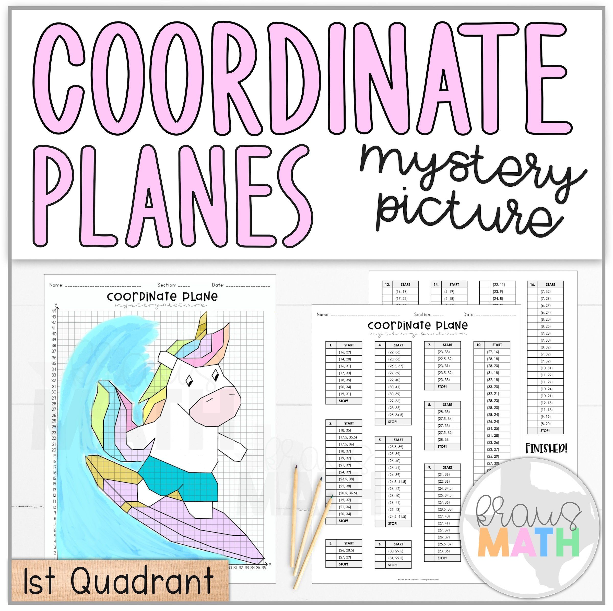Unicorn Summer Surf Coordinate Plane Activity 1st