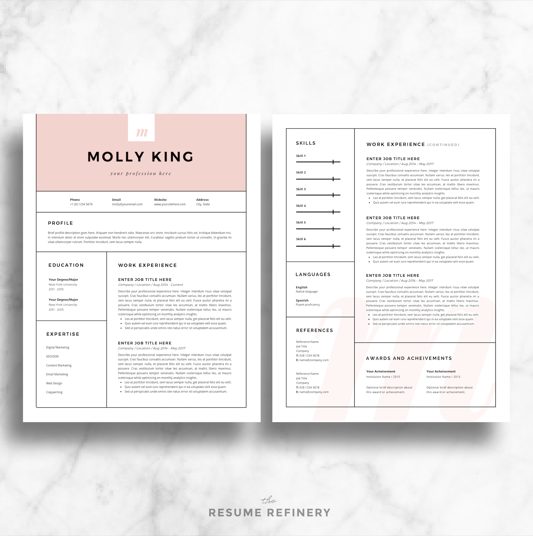 Modern  Page Resume  Cover Letter Template For Word  Bonus