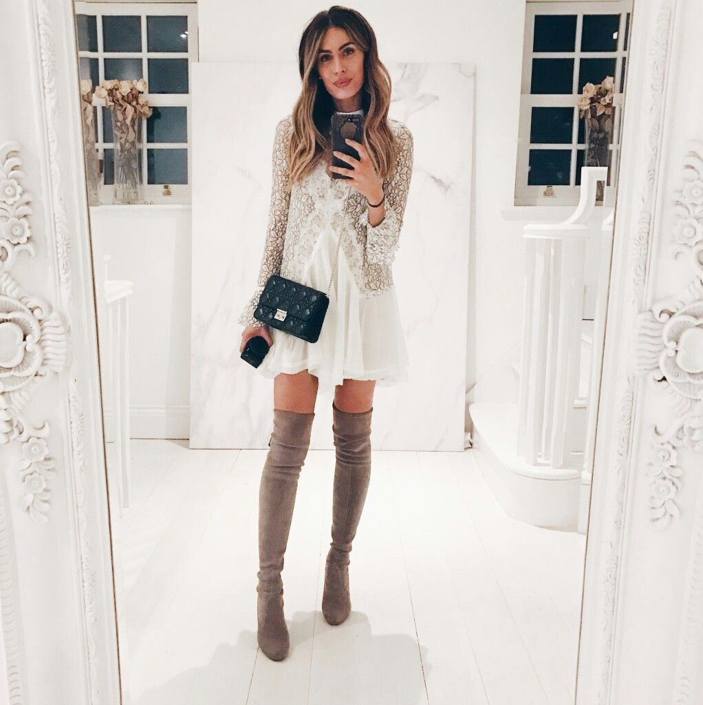 White dress boots - Lace Dress Black Bag And Taupe Otk Boots