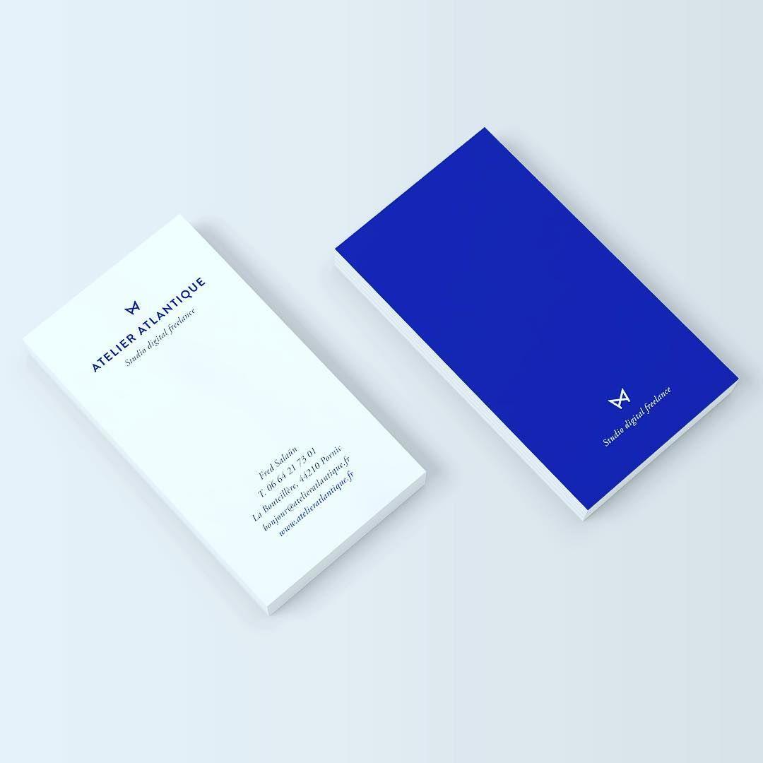 Les Cartes De Visite Sont Pretes Atelieratlantique Pornic Studiodigitalfreelance Bleu Klein Webdesign Directionartistique Design Graphic