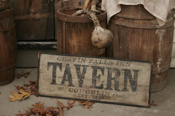 Personalized Early Antique Reproduction Primitive Wooden Tavern Sign