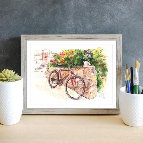 Watercolor painting, bike #watercolor #bycicle #illustration #painting #homedecor #drawing # #