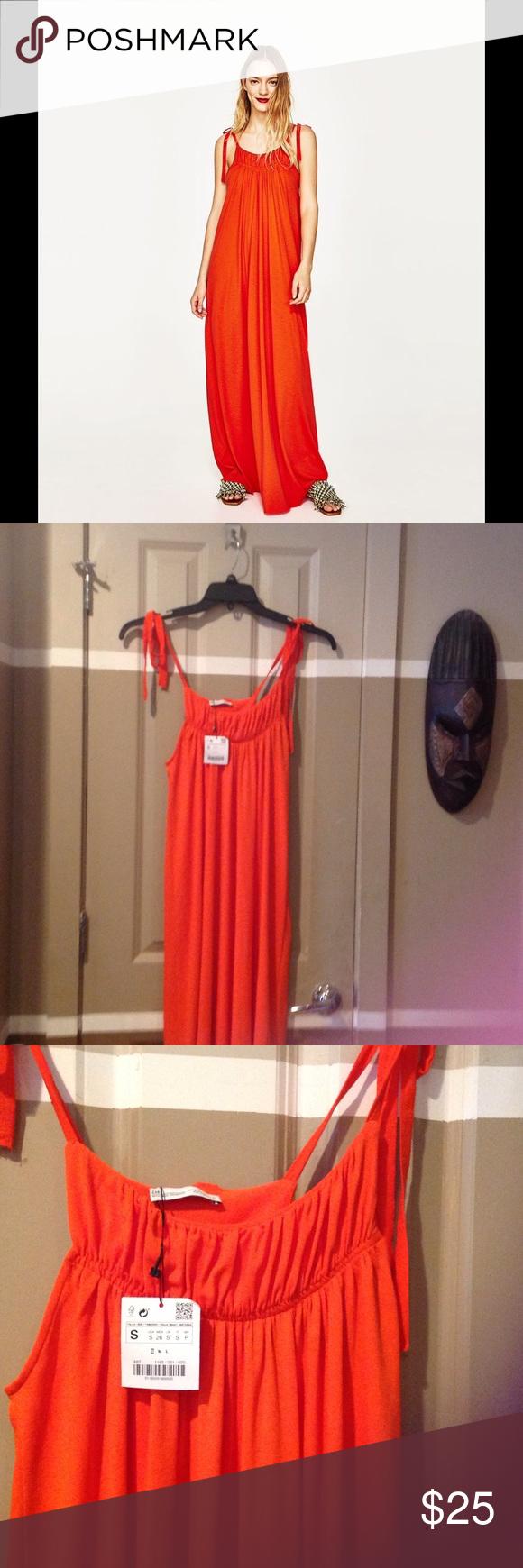 New zara orange maxi dresssmall new zara orange maxi dress
