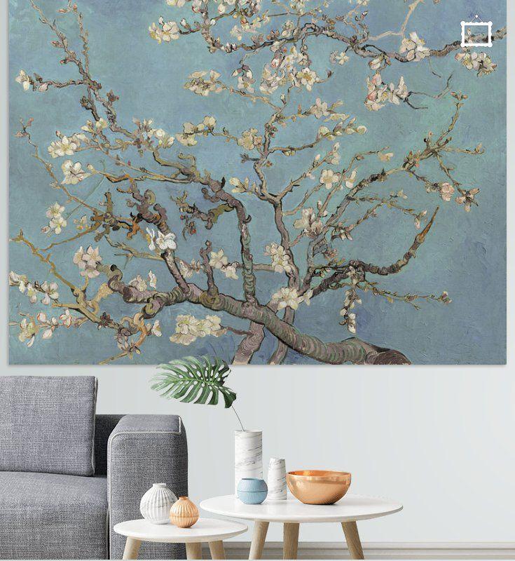 Amandelbloesem Van Vincent Van Gogh Zacht Blauw Early Dew Op Canvas Behang Poster En Meer Vincent Van Gogh Van Gogh Behang