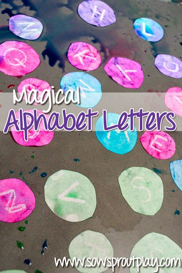 Recortar vários círculos onde escreve as letras do alfabeto com lápis de cera branco.   Mergulhar os papéis em água colorida com ...