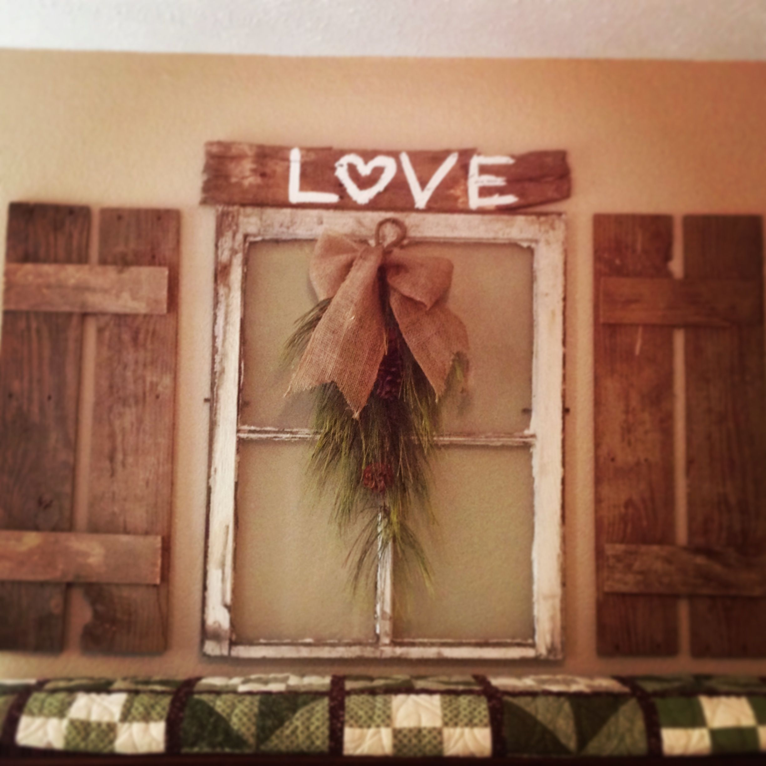 Old window with pallet shutters for the home pinterest for Decorating with old windows and shutters