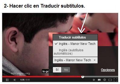"""Desplegar y seleccionar haciendo clic en """"Traducir subtítulos"""""""