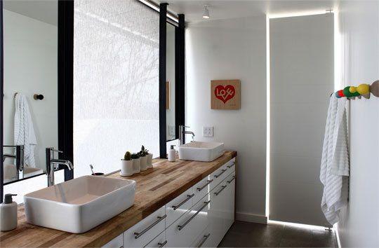 Double Vanity Bathroom White Butcher Block Vessel Sink Ikea Dream House Pinterest
