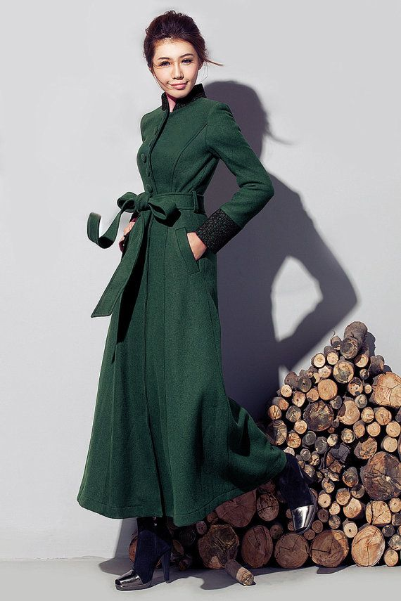 35ebd0d4ff998 Women s Green Long Wool Winter Trench Coat Outerwear With Belt Stand Collar  on Etsy