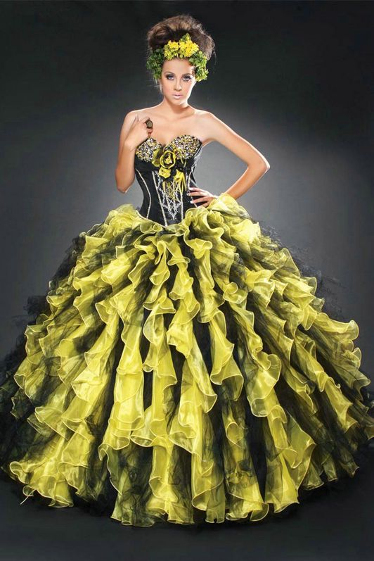 Flower Sweetheart Ruffles Strapless Beaded Long Yellow Quinceanera ...