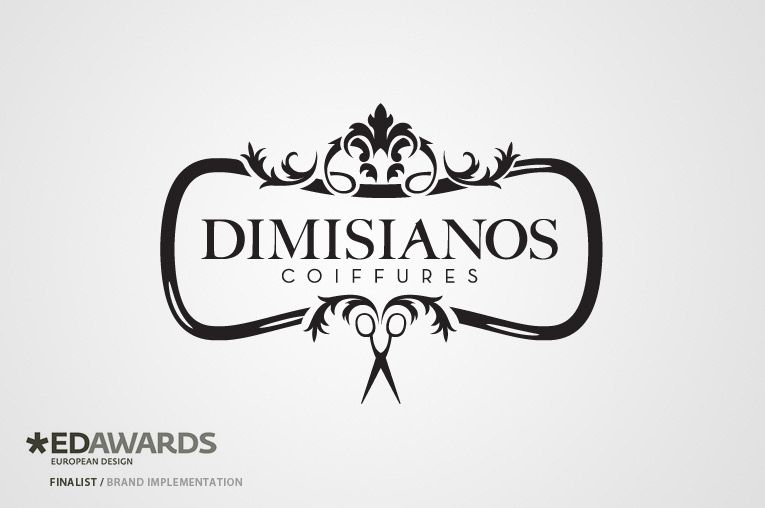 Dimisianos coiffures by kommigraphics indentit for Logo salon de coiffure