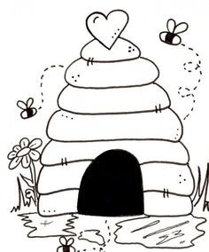 Beehive Coloring Pages For Kids Paper Embroidery Digital Stamps Embroidery Patterns