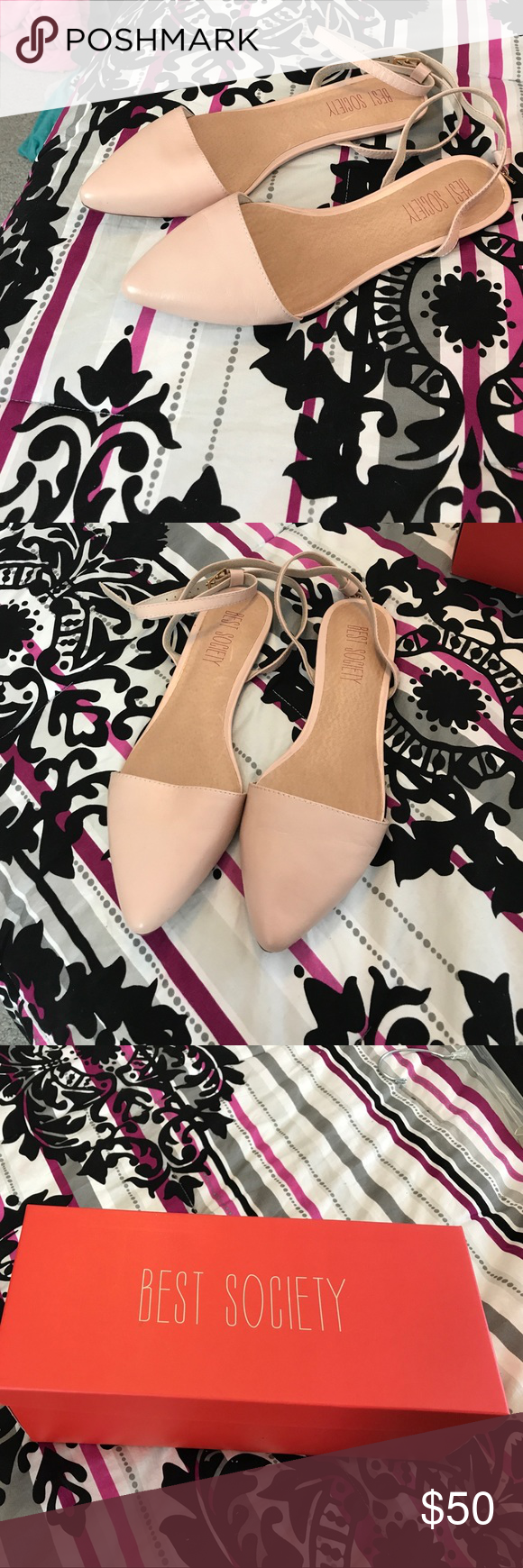 Best Society Gracie Open Back Flat - Size 8.5 Beautiful Baby Pink Open Back Flat. Strap around the ankles adjustable. Never worn. New in box. Perfect for spring and summer. Best Society Shoes Flats & Loafers