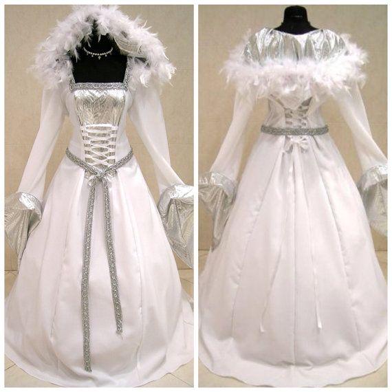 FUR Medieval Wedding Dress Silver Snow Ice Queen Elsa Frozen Witch NARNIA Costume Renaissance Handfasting X Mas Gothic