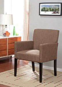 Kings Brand Brown Fabric With Black Finish Wood Legs Accent Arm Chair