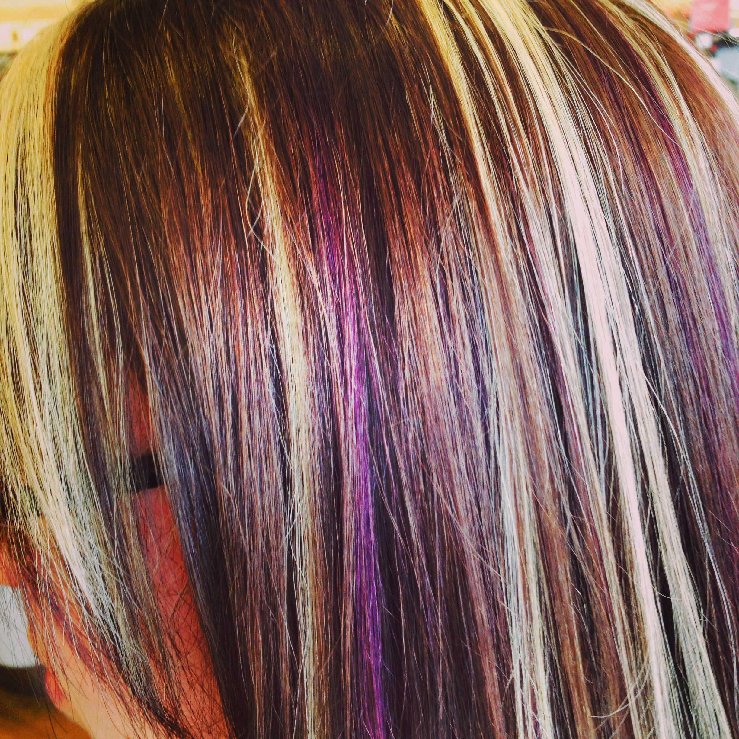 blonde and purple highlights brown hair with redken widescreen foils of computer hd