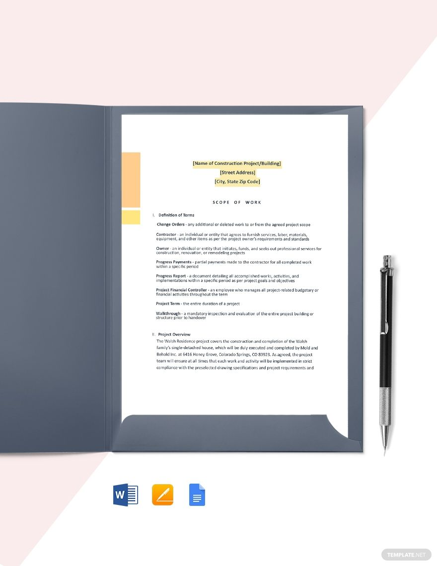 Residential Construction Scope of Work Template AD, ,