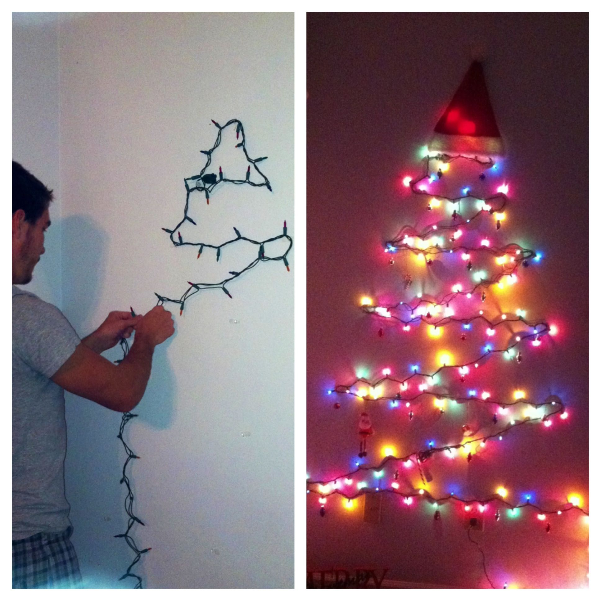 Lights Only Wall Tree Project First Christmas Tree Using Command Hooks Wall Christmas Tree Christmas Tree Lighting Christmas Lights