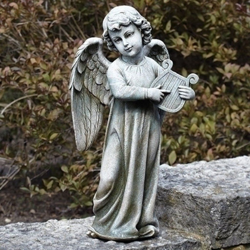 Small Angel Statues For Graves: Angel With Harp Garden Statue From Joseph Studio Garden