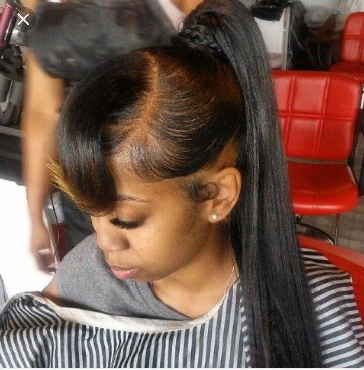 Weave Ponytail With Bangs Hairstyles Follo Me Bruhornah  Braids  Pinterest  Black Girls Hairstyles
