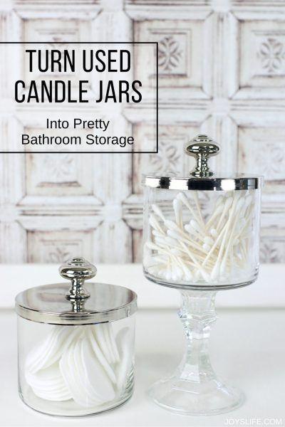 Turn Those Used Candle Jars Into Pretty Useful Storage Diy