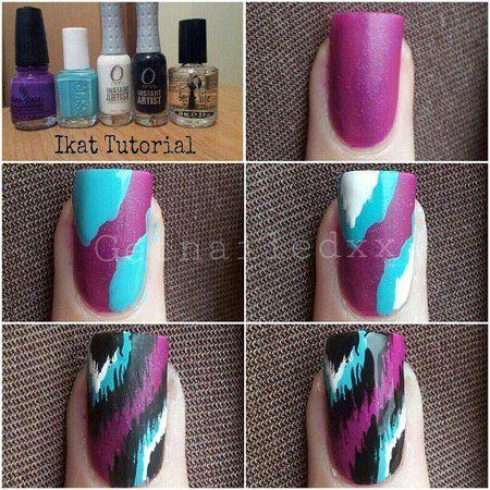 ikat nail tutorial  bellashoot  ikat nails diy nails