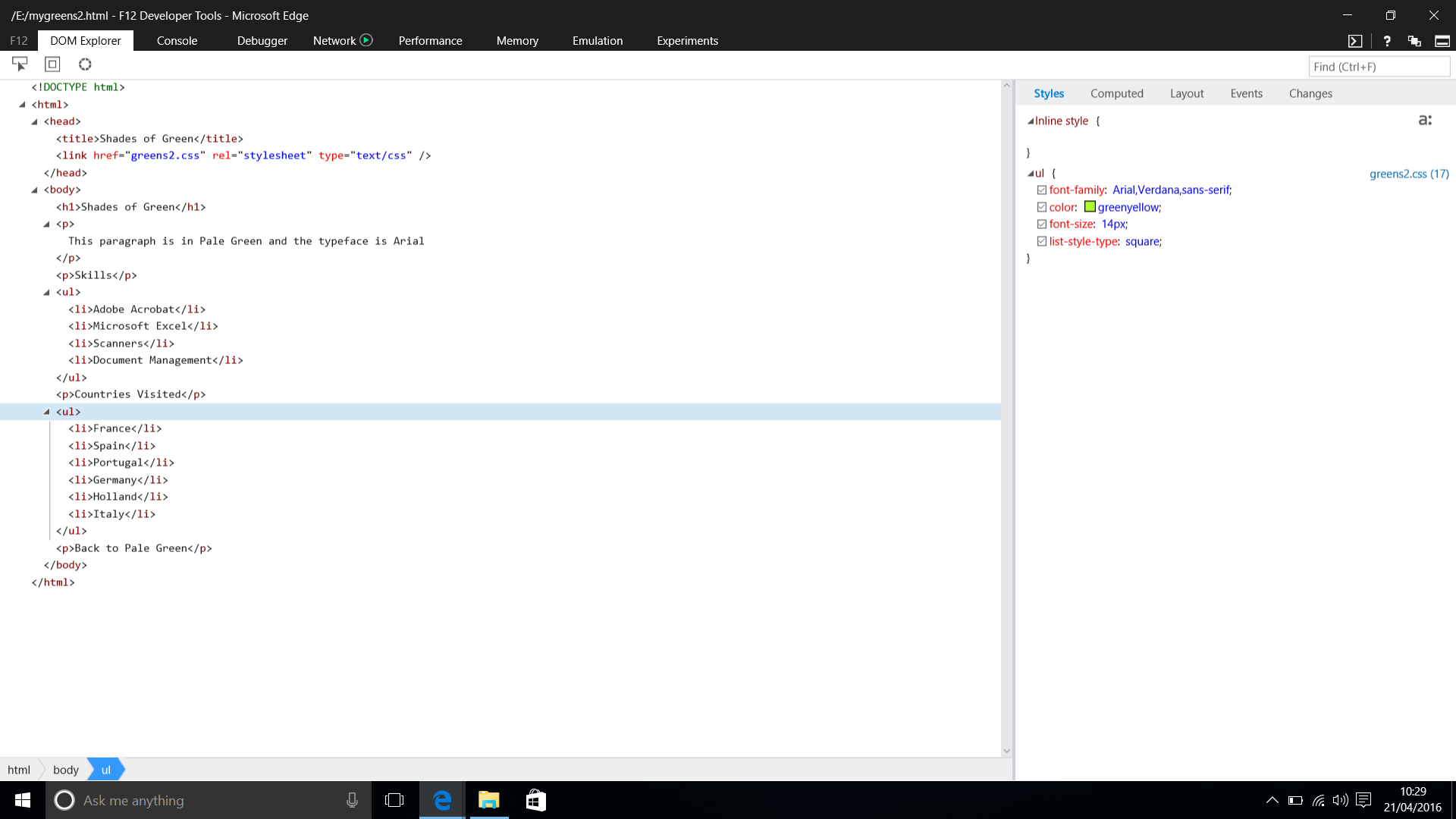 Screenshot of DOM Explorer showing Code and the UL Styles in Microsoft Edge - Windows 10.  Taken on 21 April 2016.