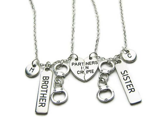 c2f06298342dc 2 Partners In Crime Brother Sister Necklaces Brother And   Friend ...