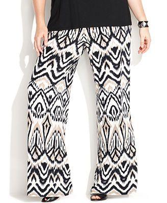 e4a432ec84ec39 INC International Concepts Plus Size Wide-Leg Ikat-Print Soft Pants ...
