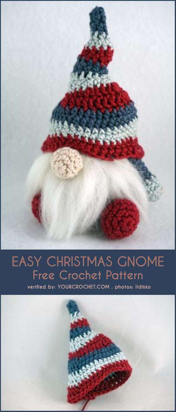 Easy Christmas Gnome Free Crochet Pattern #crochettoysanddolls
