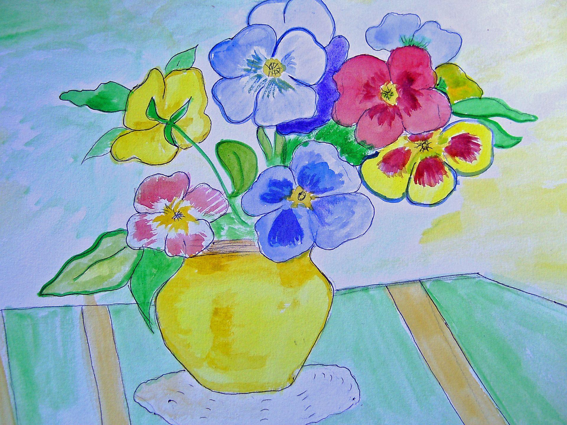 tableau aquarelle le vase de fleurs flower vase watercolour cotation drouot peintures par la. Black Bedroom Furniture Sets. Home Design Ideas