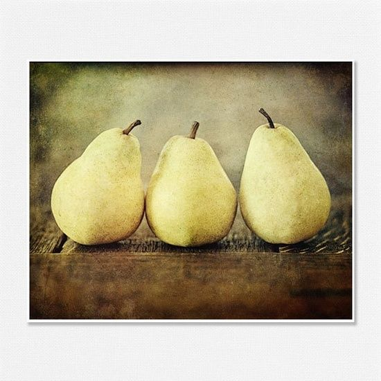Food Photography, Art for Kitchen, pears, Yellow Kitchen Decor ...