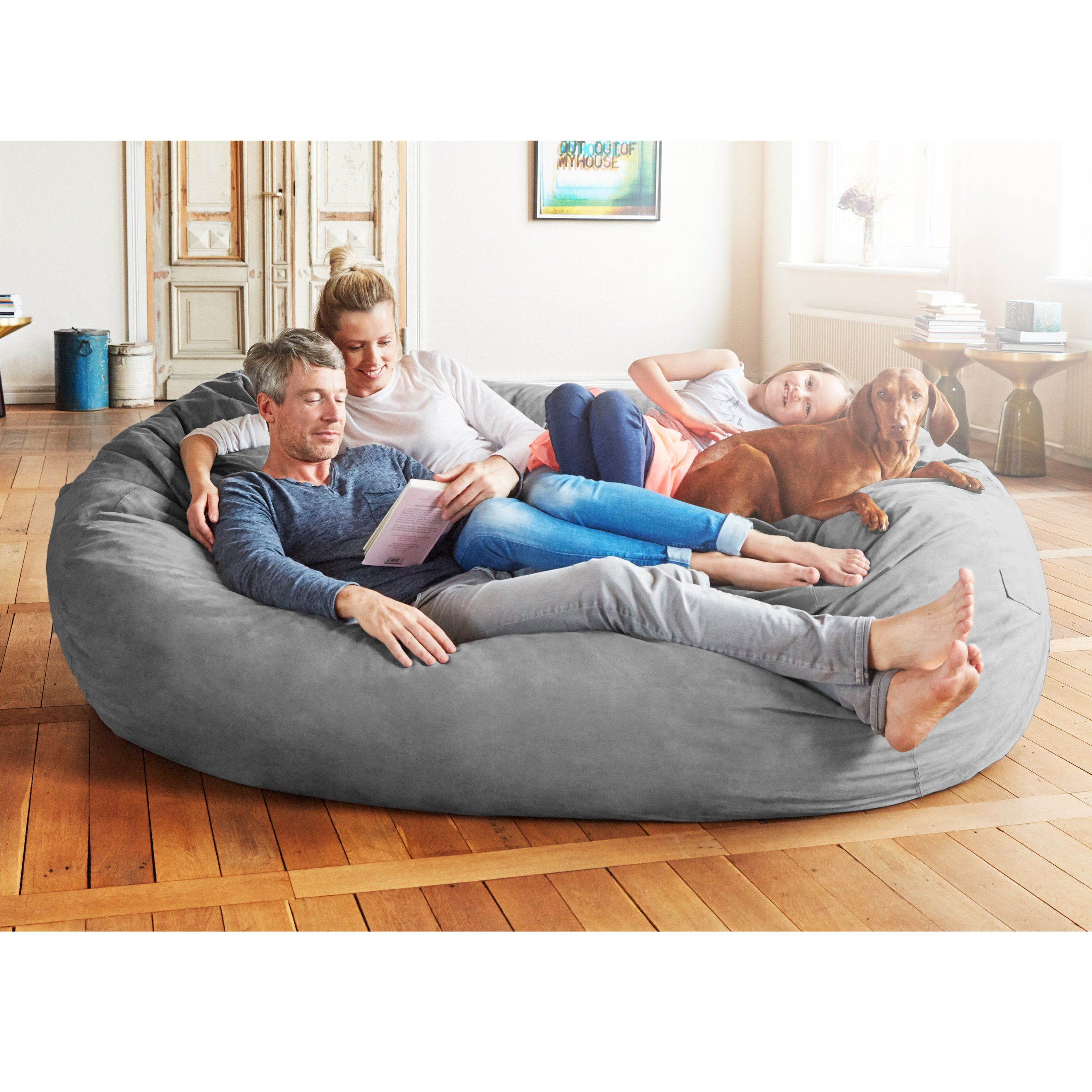 Lumaland Luxury 7Foot Bean Bag Chair with Microsuede Cover