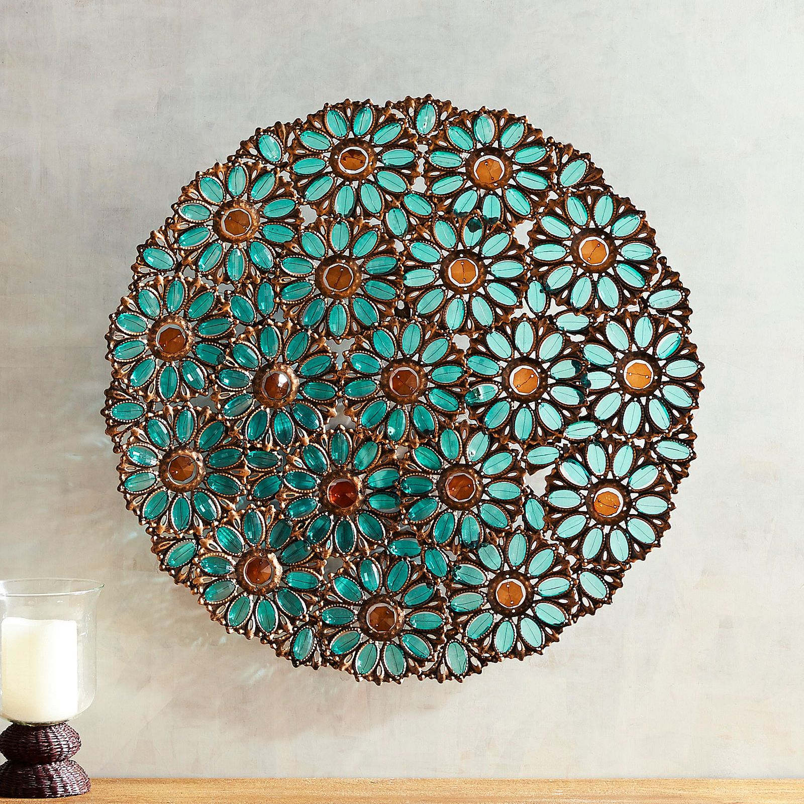 Teal Flowers Wall Decor - Pier 1 Imports