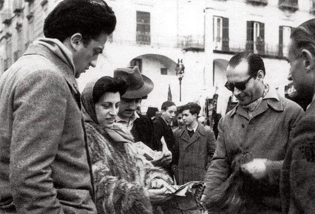 Anna Magnani with Roberto Rosselini and Federico Fellini