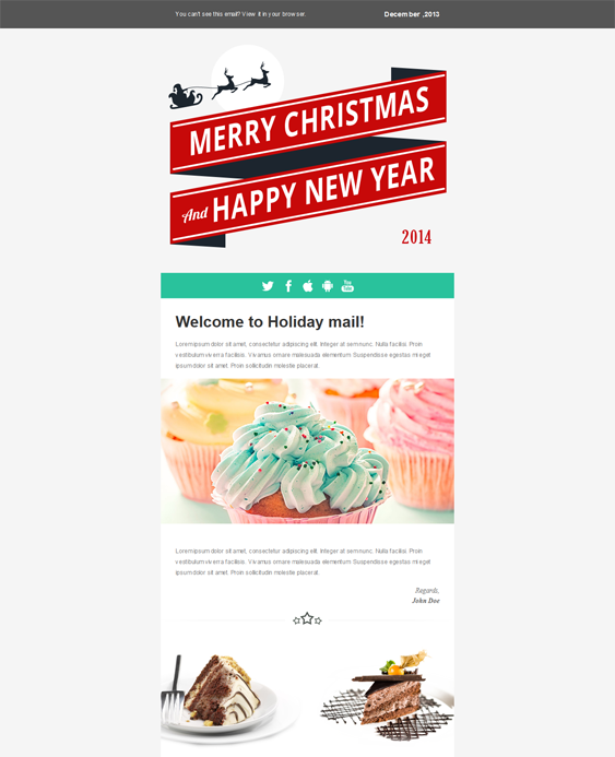 This Holiday And Christmas Email Template Comes With A Responsive - Mailchimp holiday templates