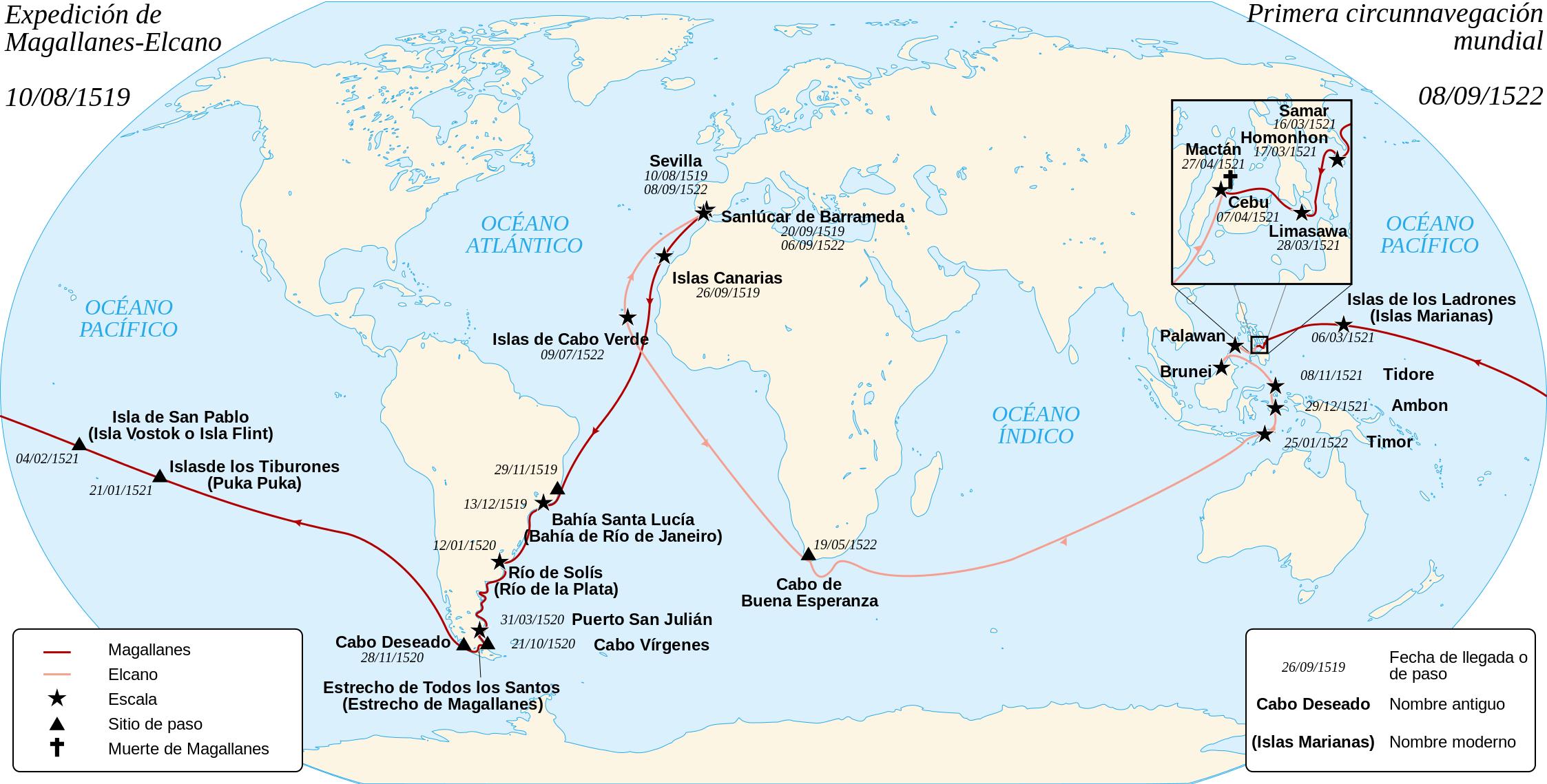 Juan Sebastián Elcano Ferdinand Magellan S Replacement: Español: Mapa De La Primera Circunnavegación Del Mundo