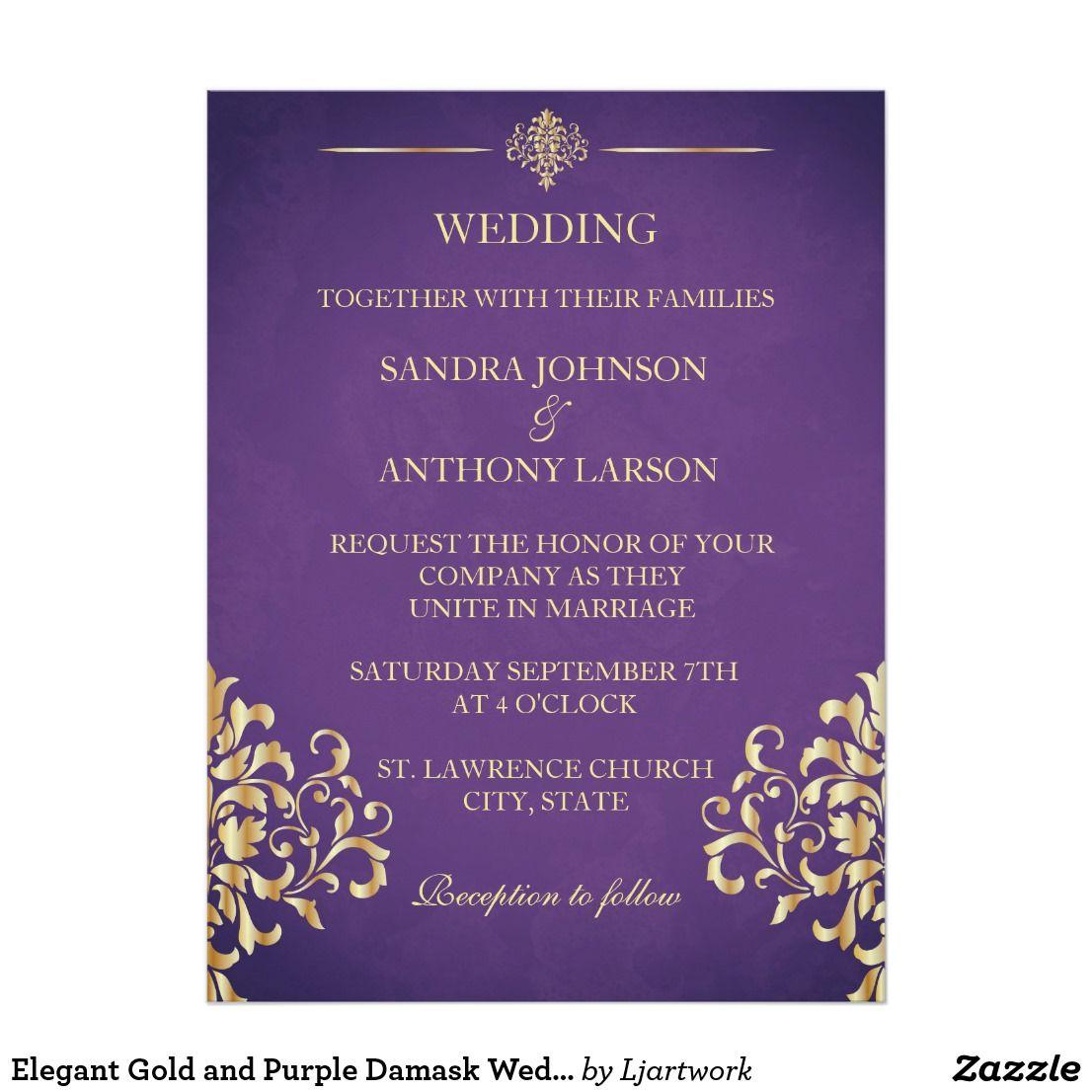 Elegant Gold And Purple Damask Wedding Invitation Wedding